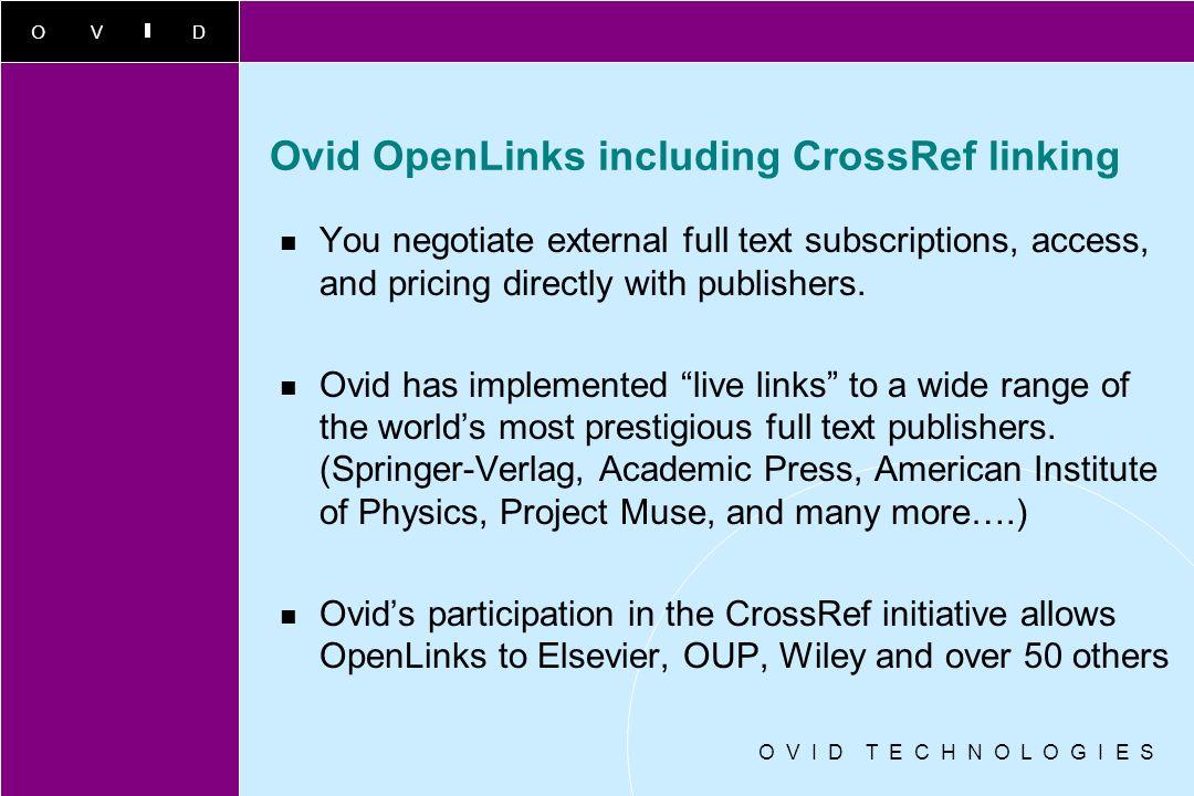 Ovid OpenLinks including CrossRef linking