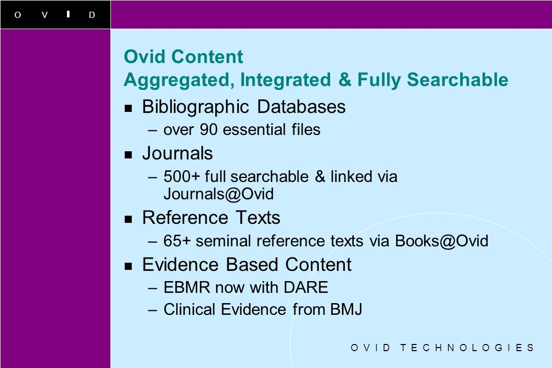 Ovid Content Aggregated, Integrated & Fully Searchable