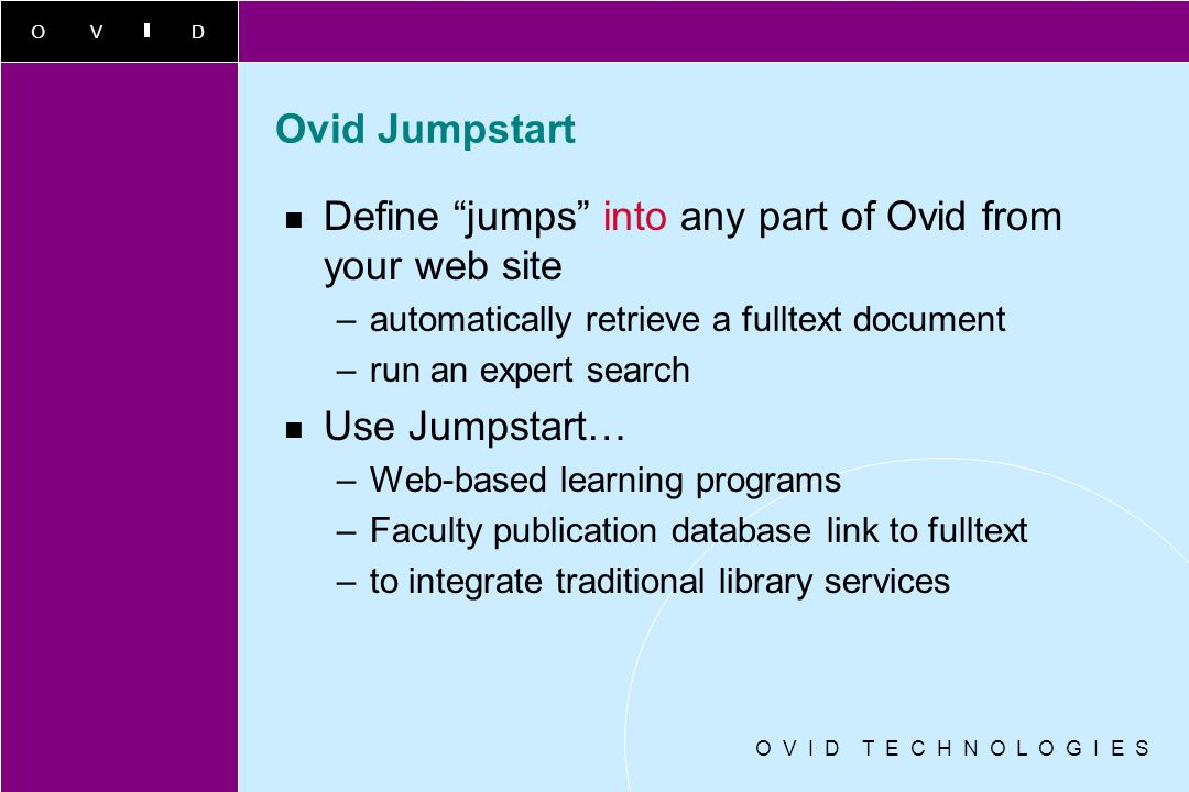 Define jumps into any part of Ovid from your web site