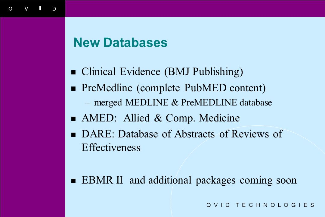 New Databases Clinical Evidence (BMJ Publishing)