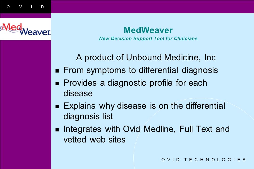 MedWeaver New Decision Support Tool for Clinicians