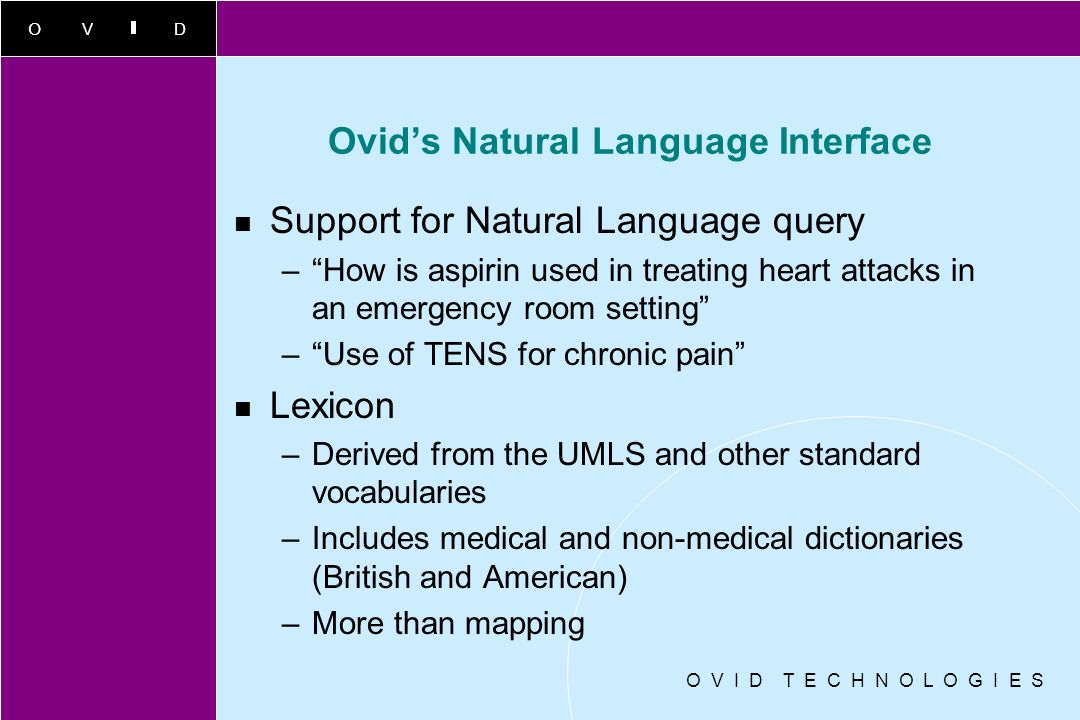 Ovid's Natural Language Interface