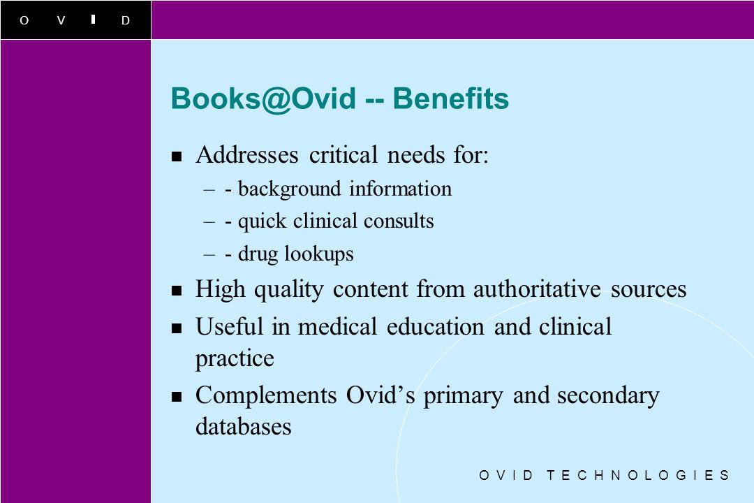 Books@Ovid -- Benefits