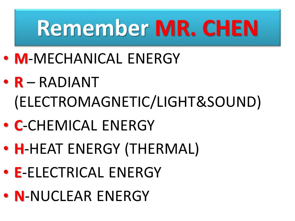 Remember MR. CHEN M-MECHANICAL ENERGY