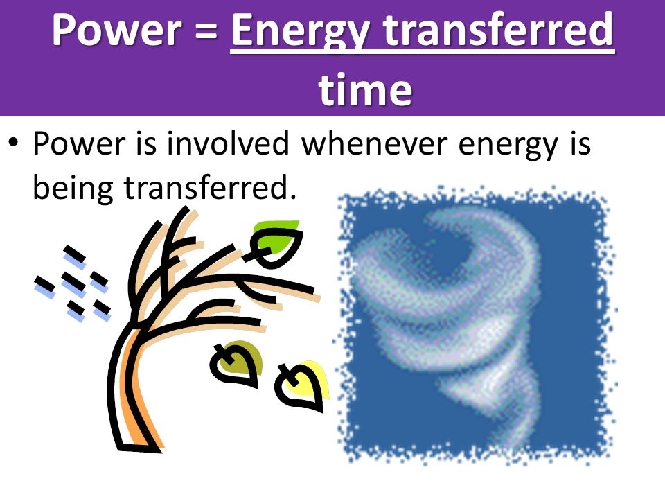 Power = Energy transferred time