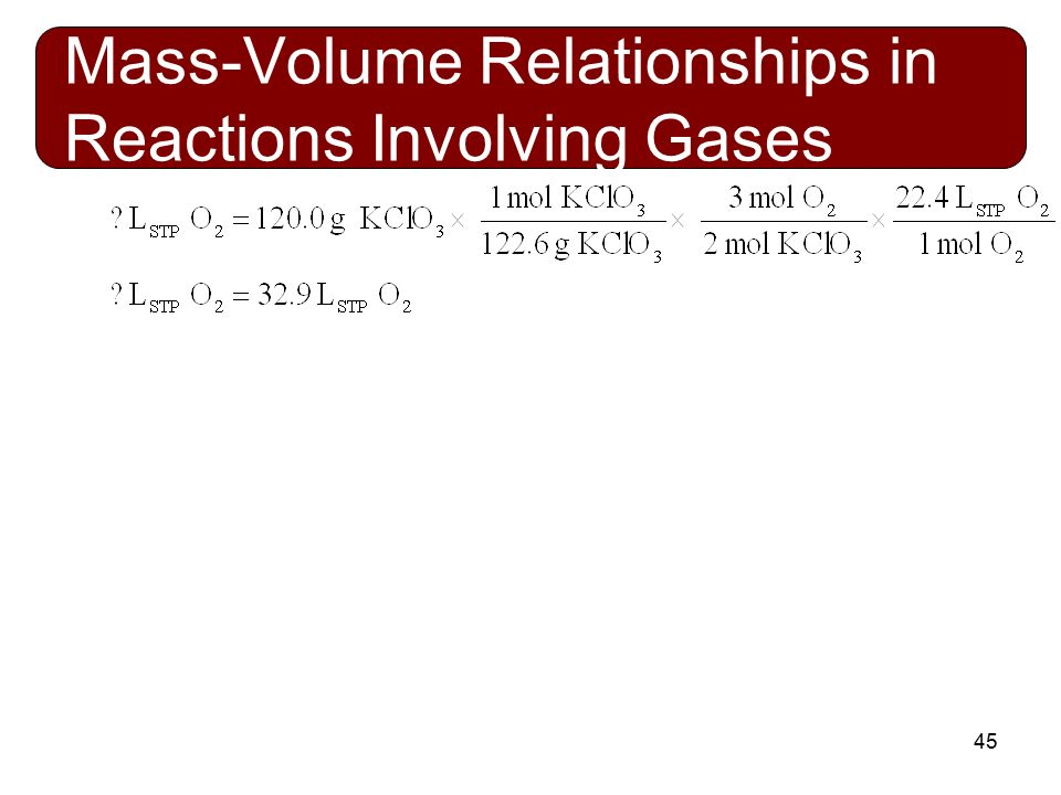 mass volume relationship in reaction