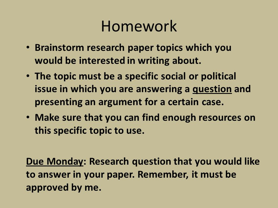 Homework research paper