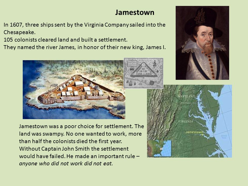 Image result for settlers land at what became jamestown