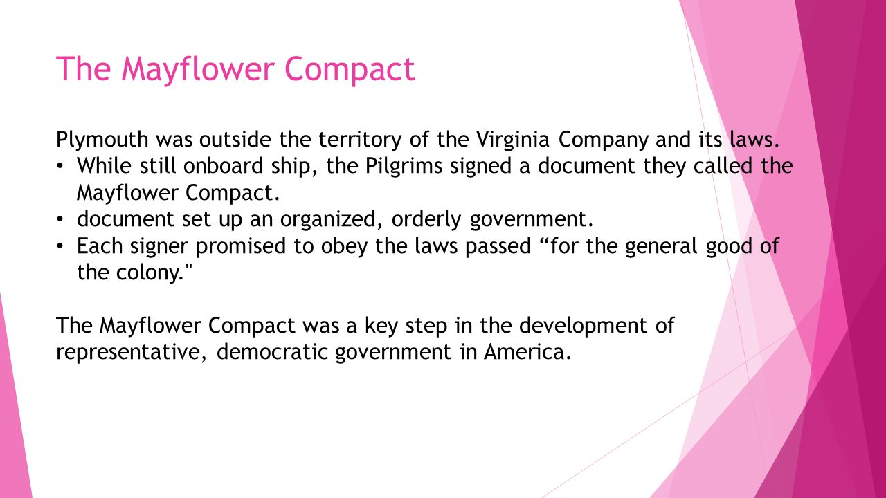 The Mayflower Compact Plymouth was outside the territory of the Virginia Company and its laws.