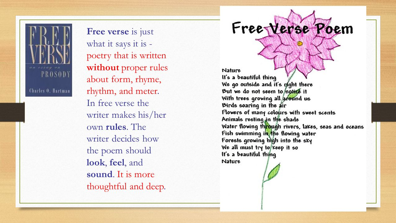 tutorial about free verse poetry You try to keep the words that belong together on same line, but, sometimes poet will break these 8 mar 2008 poems can be constructed in either free verse or.