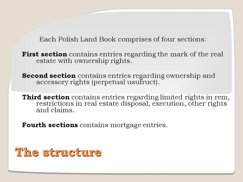 The structure Each Polish Land Book comprises of four sections: