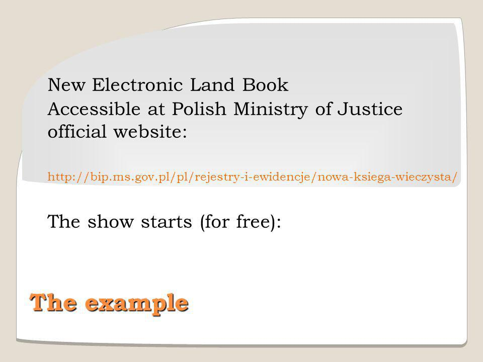 The example New Electronic Land Book