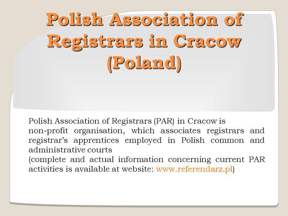 Polish Association of Registrars in Cracow (Poland)