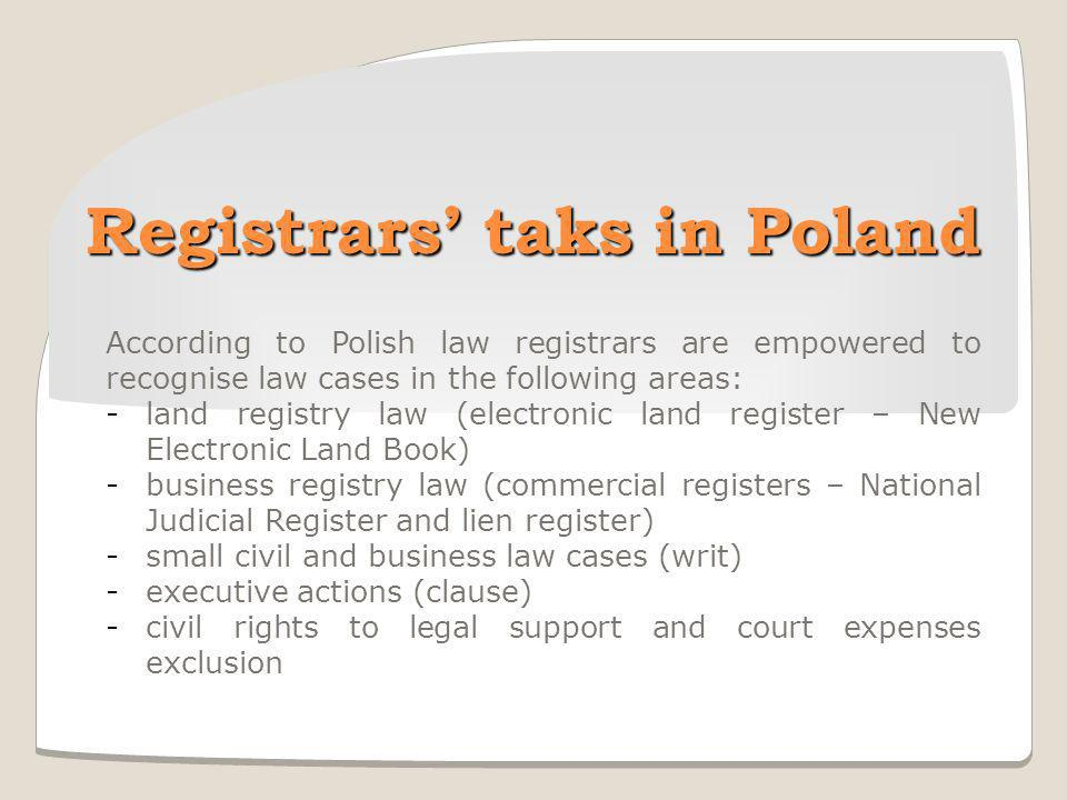 Registrars' taks in Poland