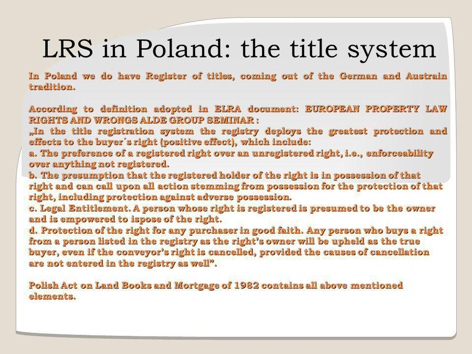 LRS in Poland: the title system