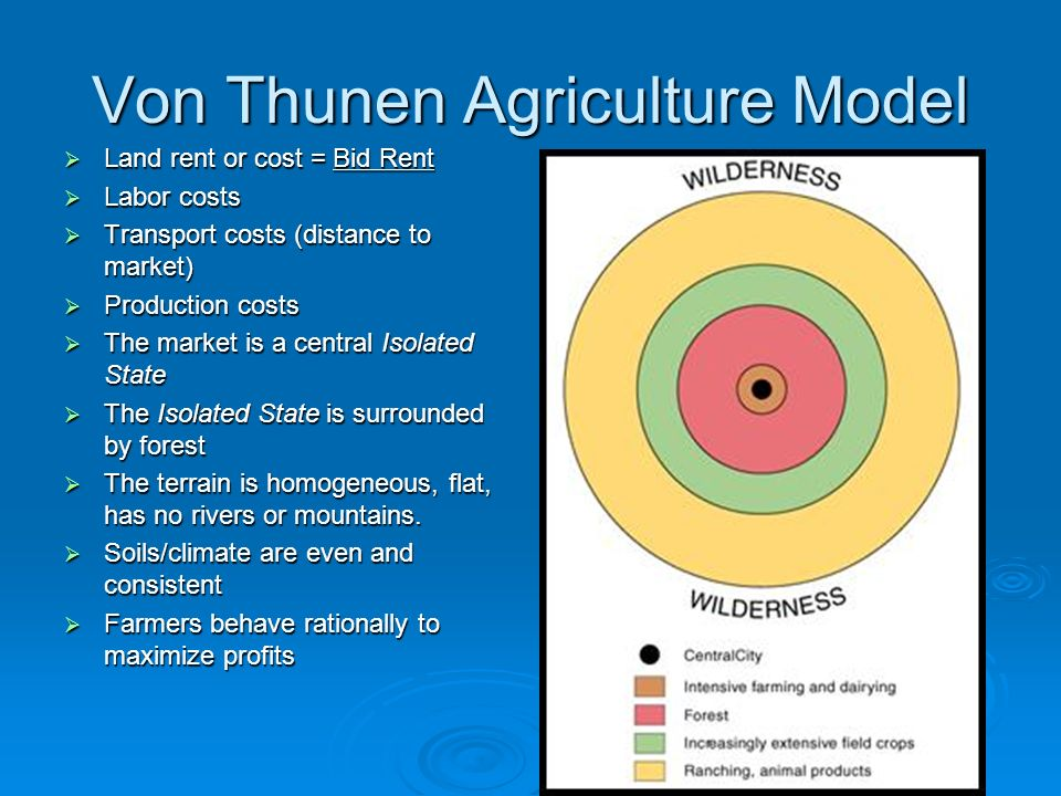 application of von thunen model in Some of the locational theories of agriculture and will mainly focus on johann heinrich von thunen's theory  has disturbed the application of von thunen model.