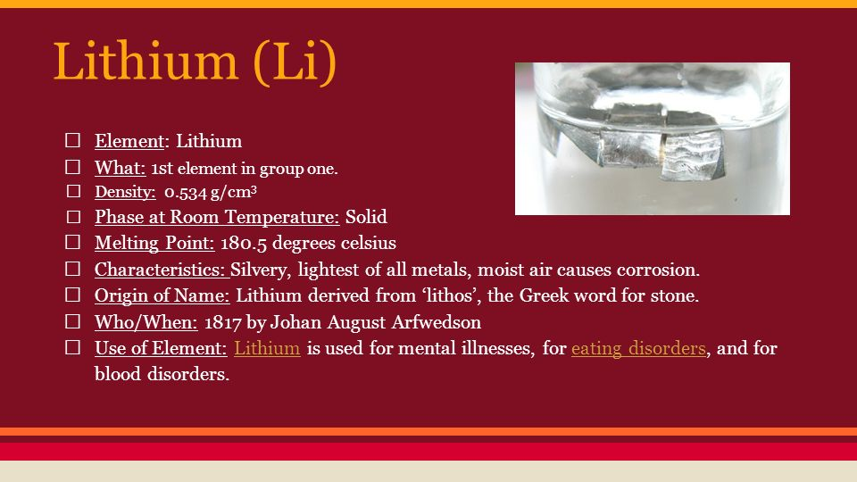 the origin and characteristics of lithium Characteristics of lithium lightest metal known third element in the periodic table, highest energy density of any metal name of element: lithium.