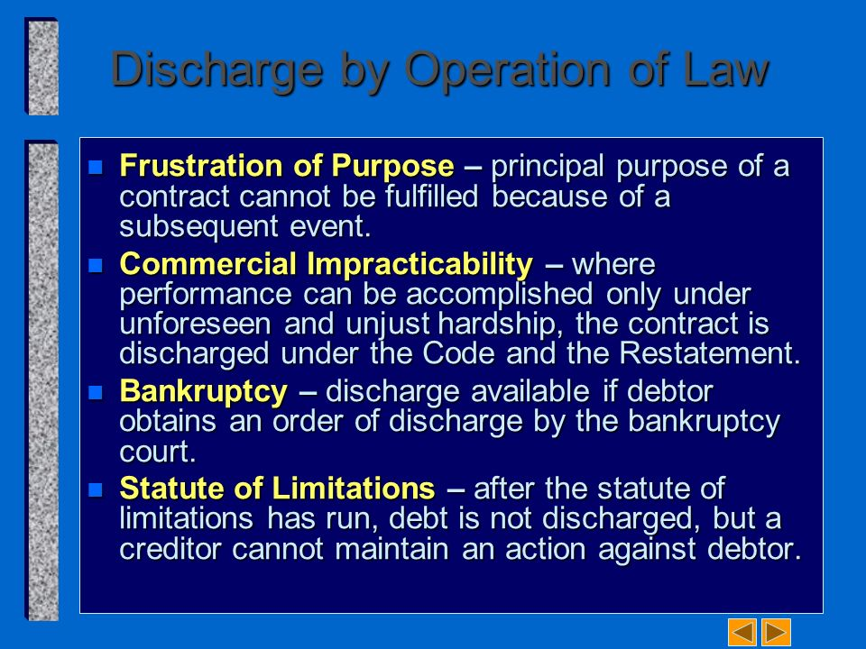 contract discharge by frustration Contract is discharged by frustration thirdly, a contract is discharged by  frustration if a specific thing that is essential to the performance of the.