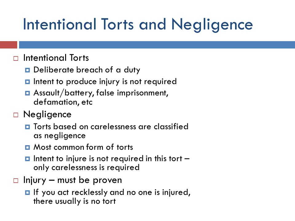 intentional torts negligence nuisance essay If the question deals with intentional torts, note that there are up to nine of them (some say 5 and others go up to 9), and then you will have to decide which ones are applicable let's presume that you decide that the applicable intentional torts are assault, battery and false imprisonment it is best to start with the tort asked first in the call of the question.