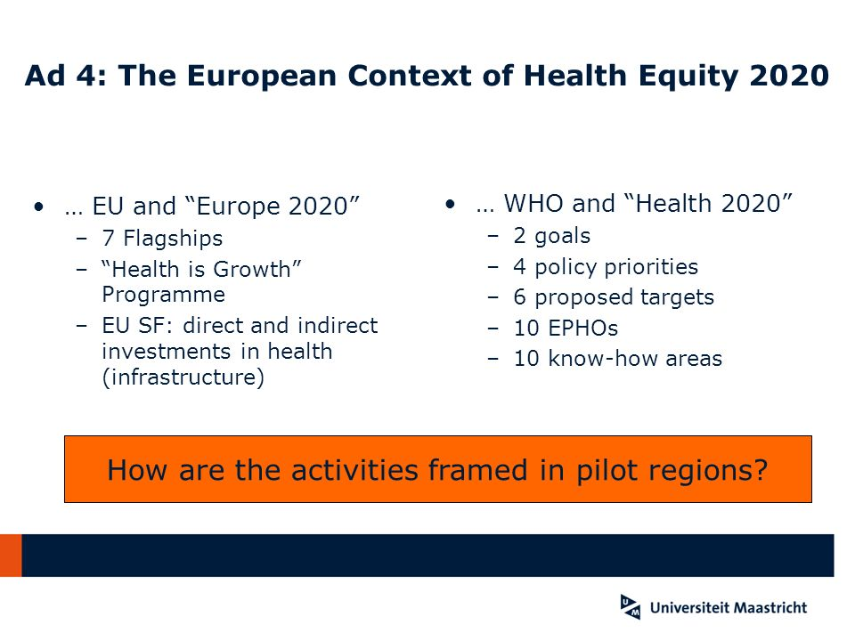 Ad 4: The European Context of Health Equity 2020