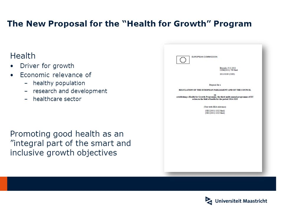 The New Proposal for the Health for Growth Program