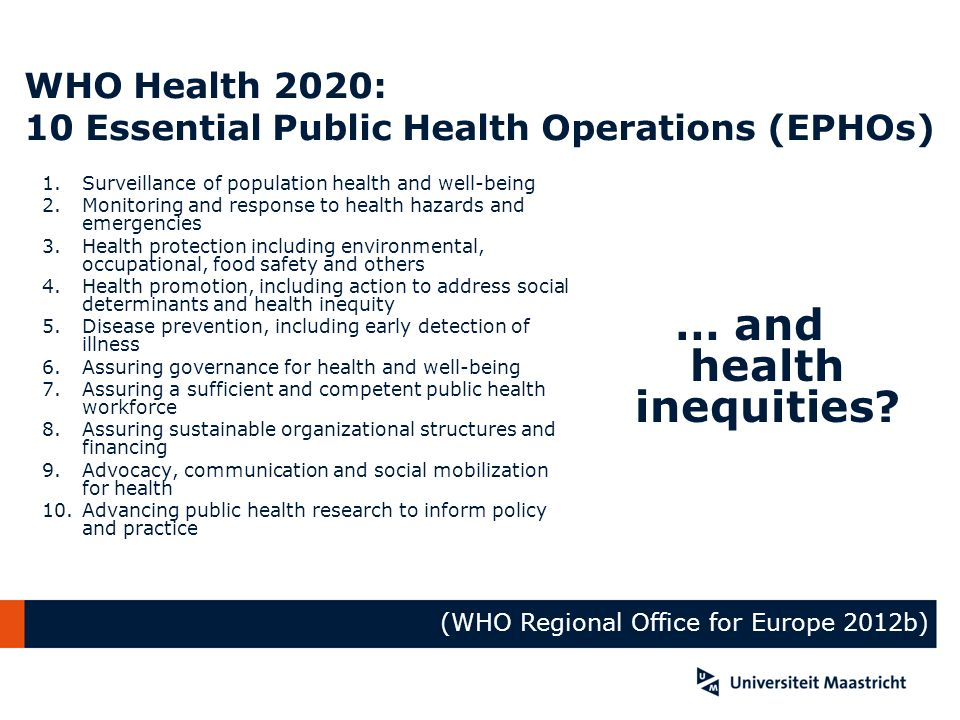 WHO Health 2020: 10 Essential Public Health Operations (EPHOs)