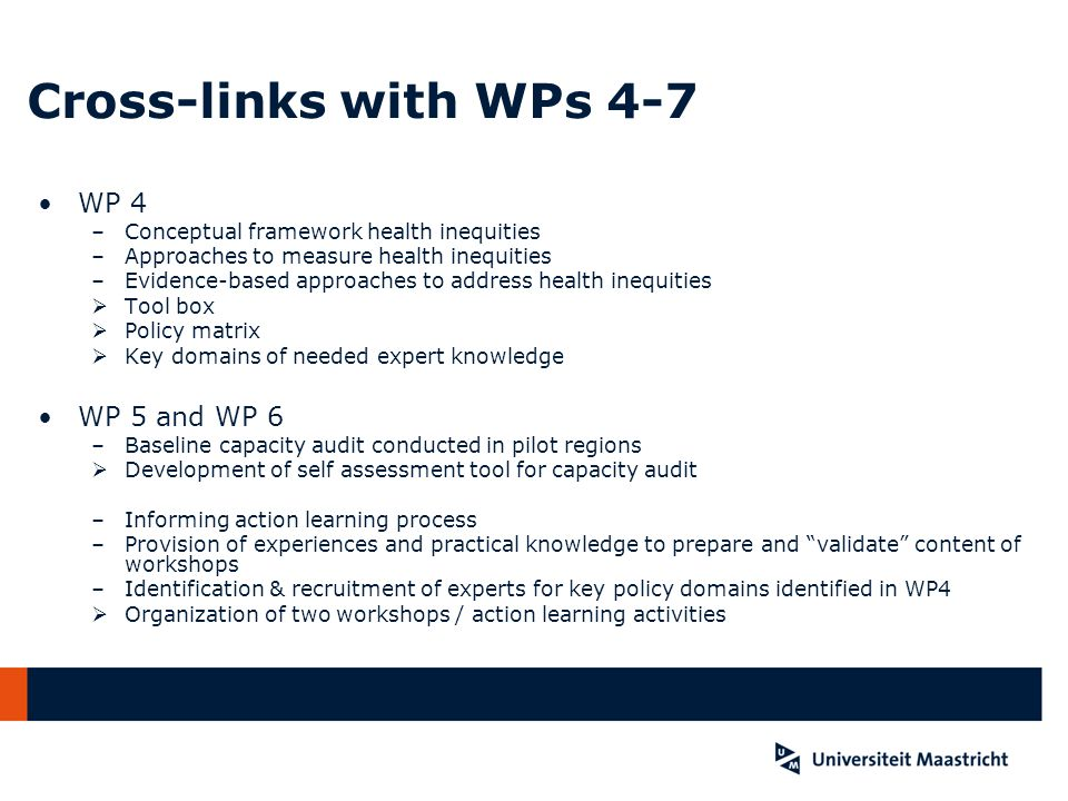Cross-links with WPs 4-7 WP 4 WP 5 and WP 6