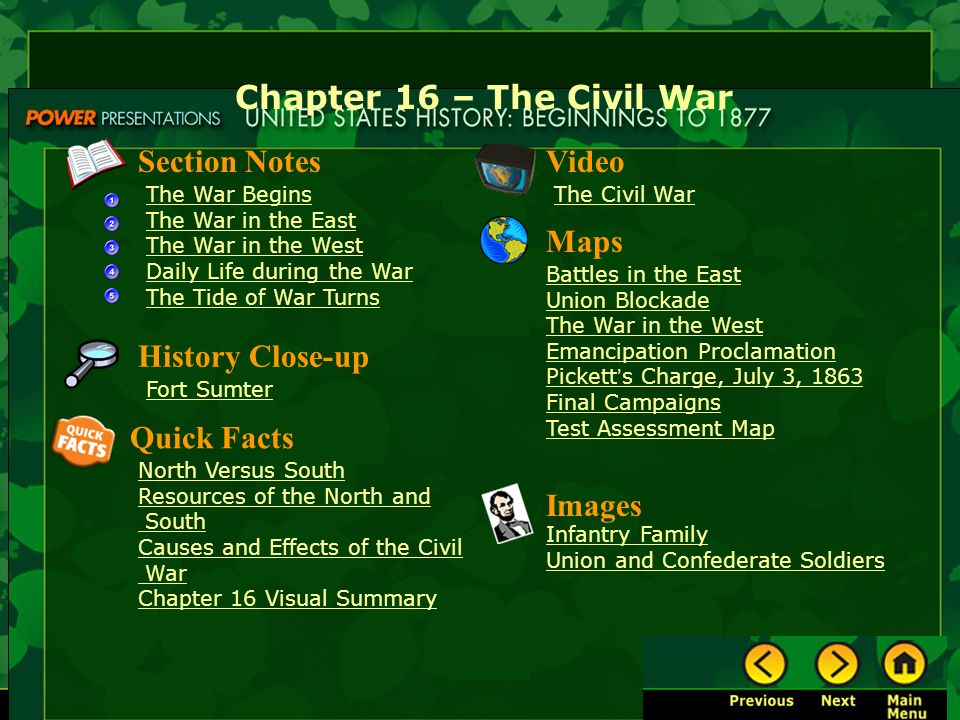 Chapter 16 The Civil War Section Notes Video Maps History Close Up