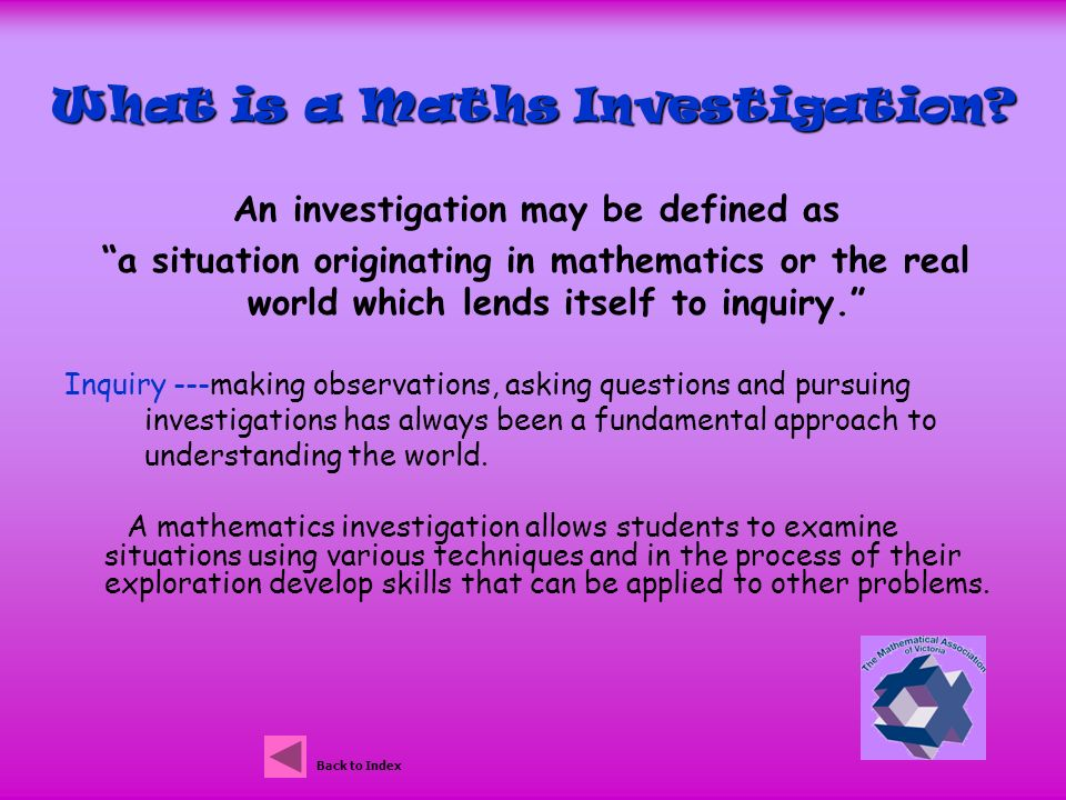 how to write a mathematical investigation