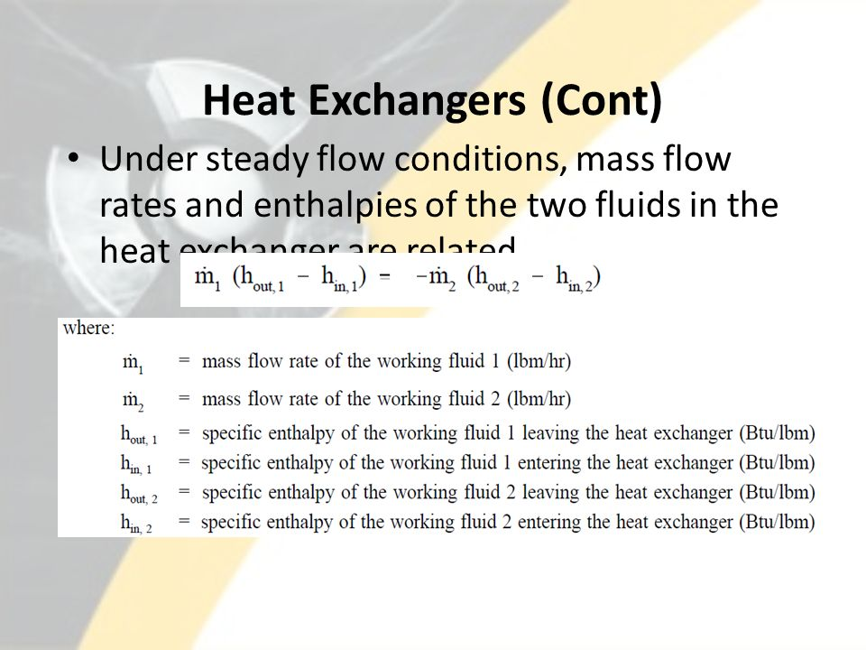 Heat Exchangers (Cont)