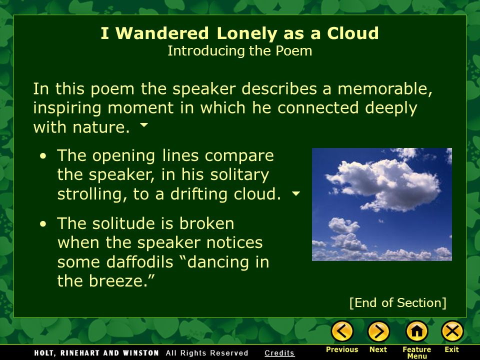 "wandered lonely cloud william wordsworth Imagery and musical devices analysis in william wordsworth's ""i wandered lonely as a cloud"" by ravita nurjanah."