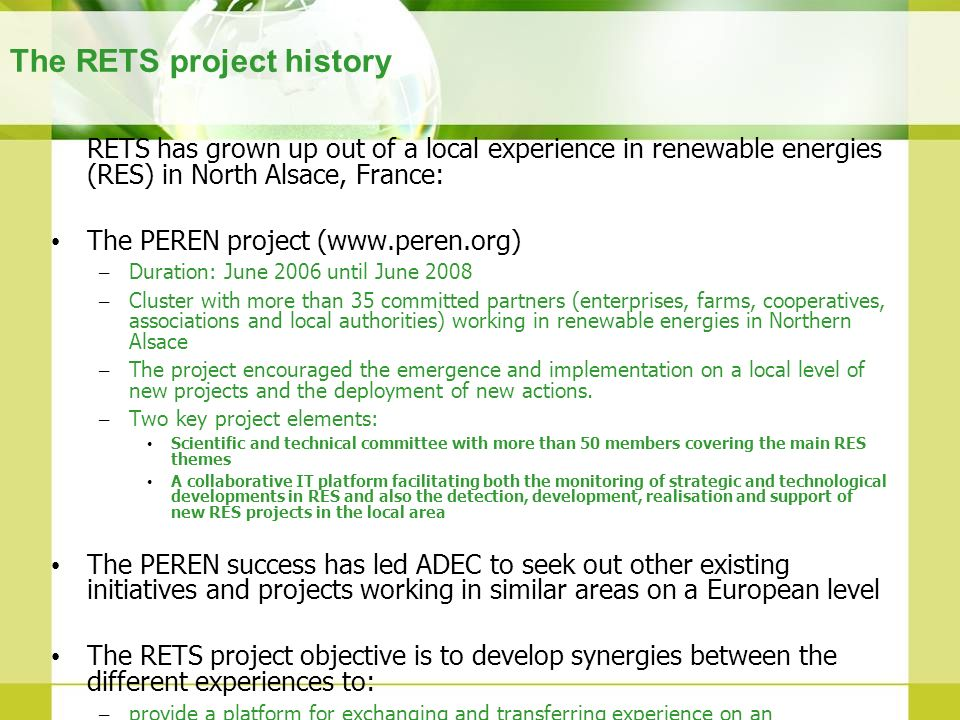 The RETS project history