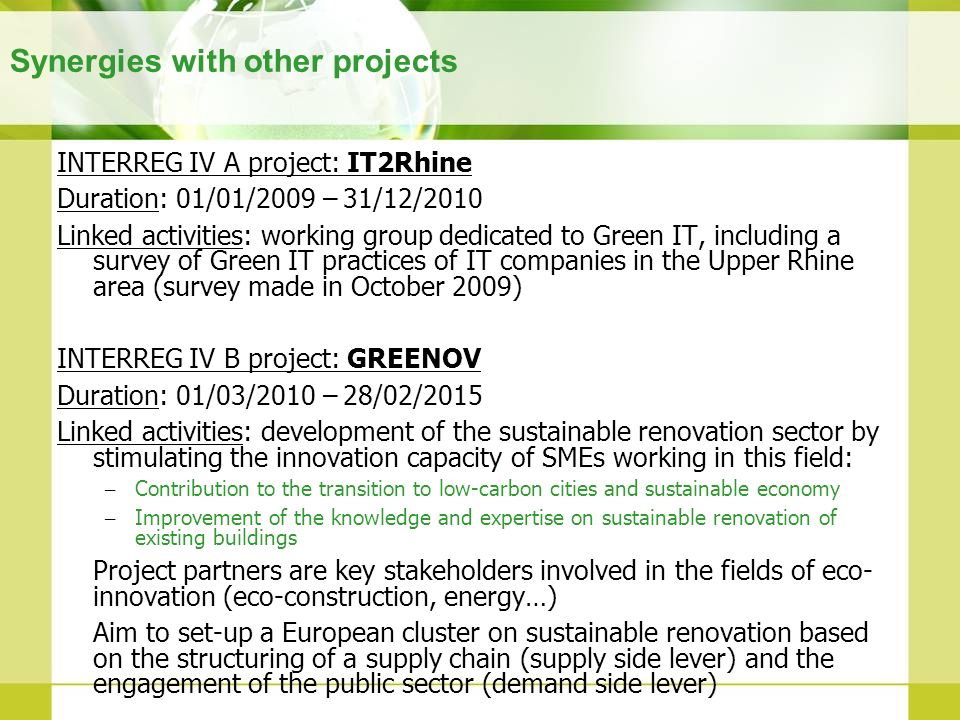 Synergies with other projects