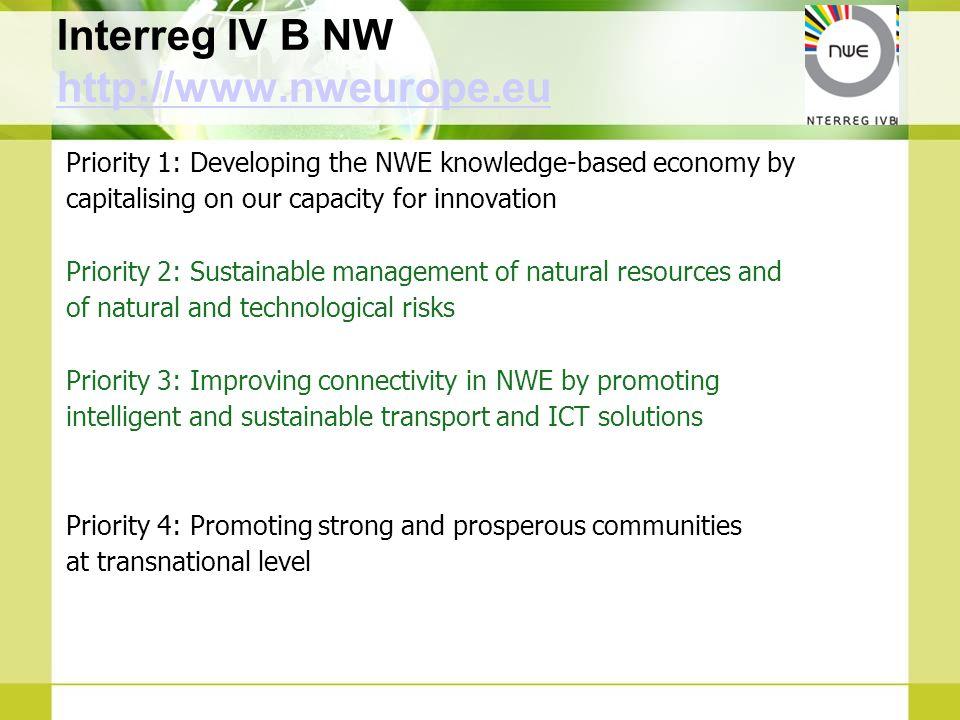 Interreg IV B NW http://www.nweurope.eu