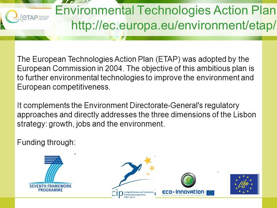 Environmental Technologies Action Plan http://ec. europa