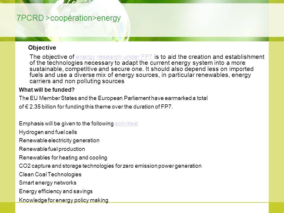 7PCRD >coopération>energy