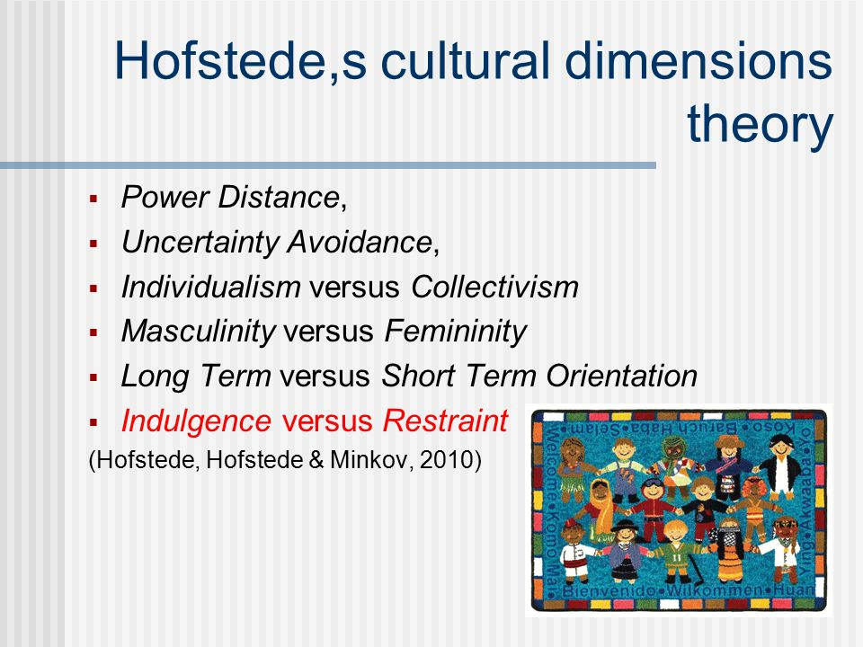 geert hofstedes cultural dimensions theory Geert hofstede cultural dimensions geert hofstede, a much known professor carried out the study of impact of culture on individuals at a workplace it took him six years to complete this study as it consists of interviews of more than 100,000 employees from 70 countries.