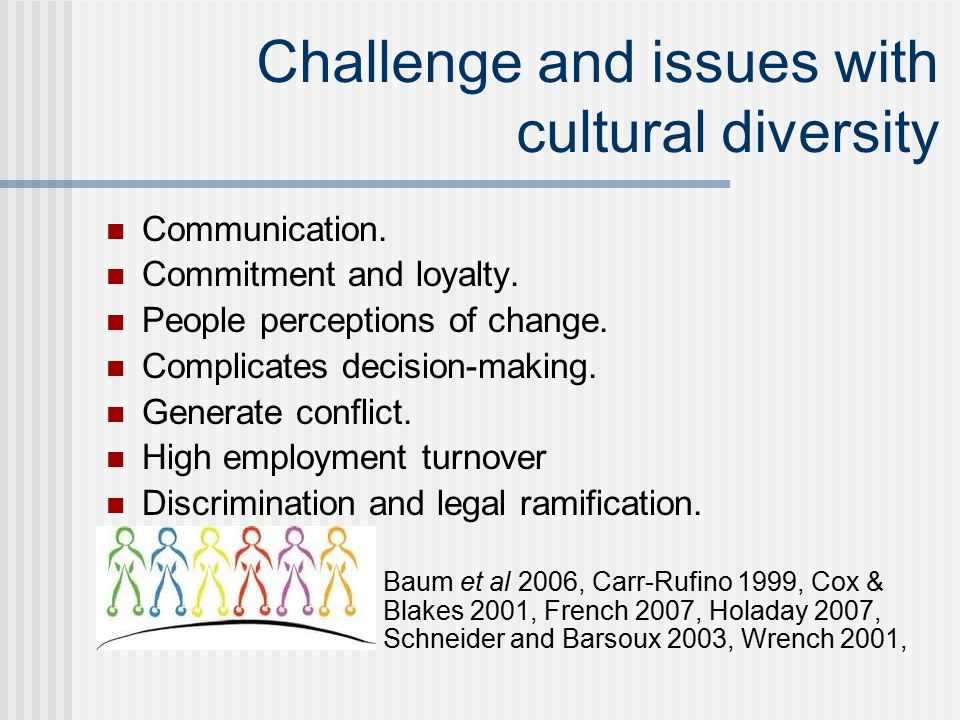 challenges benefits ofcultural diversity Challenges of diversity in the workplace â taking full advantage of the benefits of diversity in the workplace is not without its challenges some of those challenges are: communication – perceptual, cultural and language barriers need to beâ overcome for diversity programs to succeed.