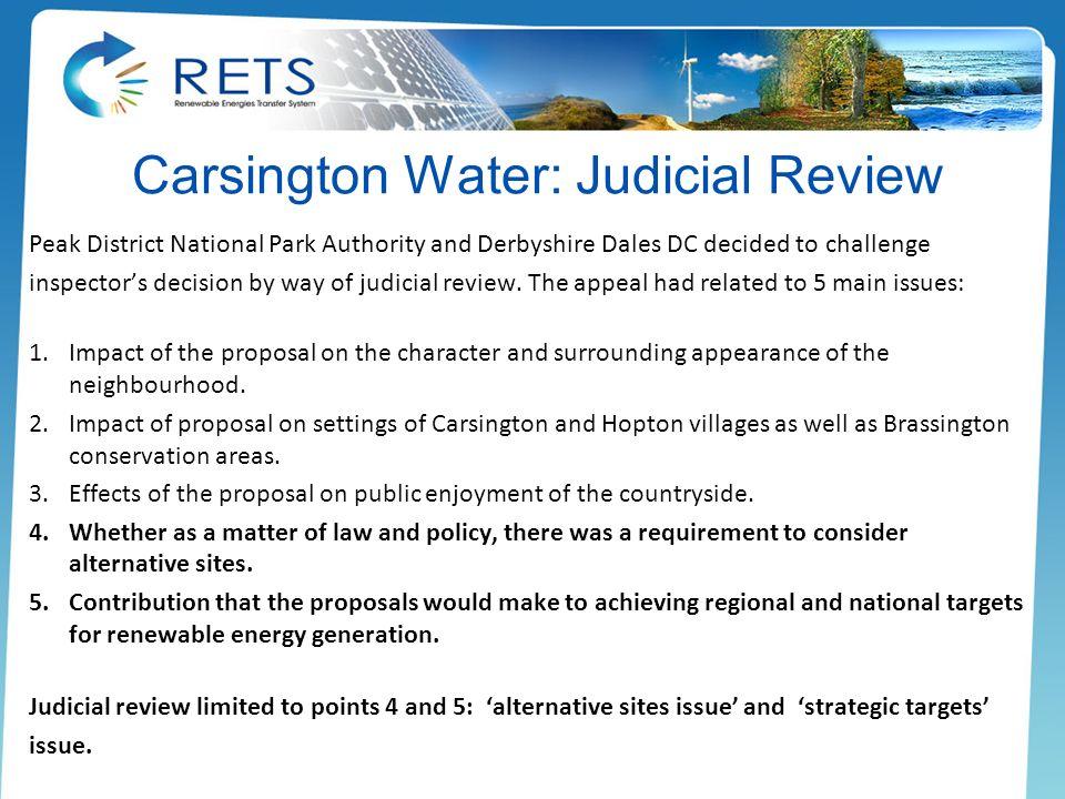 Carsington Water: Judicial Review