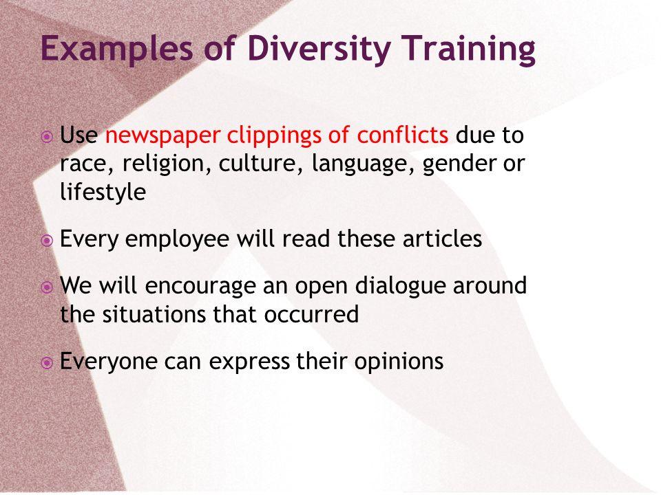 Examples of Diversity Training