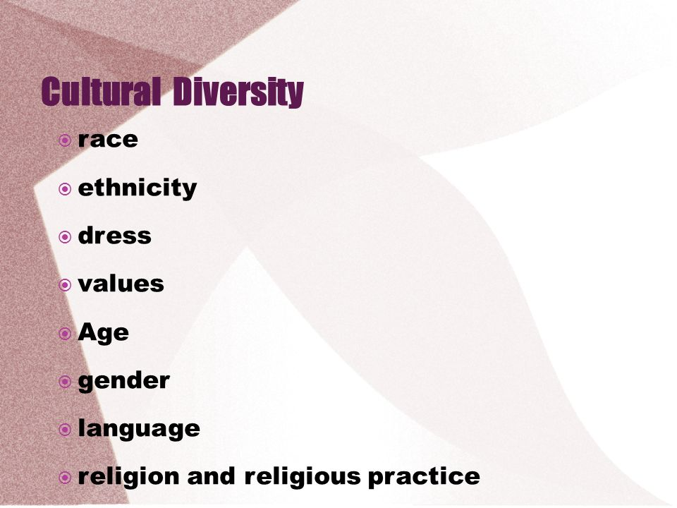 Cultural Diversity race ethnicity dress values Age gender language