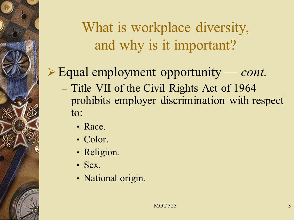 religious discrimination in the workplace essays At workplace discrimination occurs when an employee suffers from unfavorable or unfair treatment due to their race, religion, national origin, disabled or veteran status, or other legally protected characteristics.