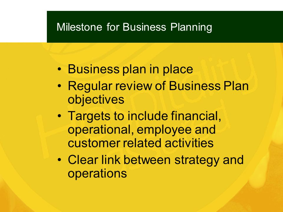 Milestone for Business Planning