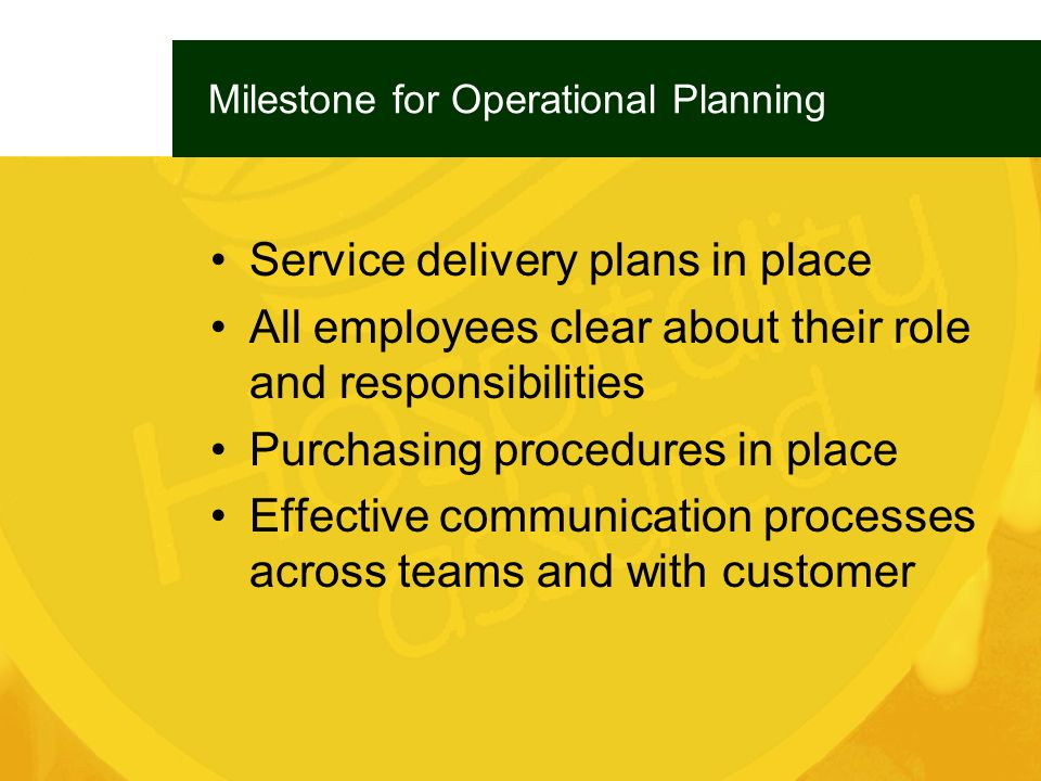 Milestone for Operational Planning