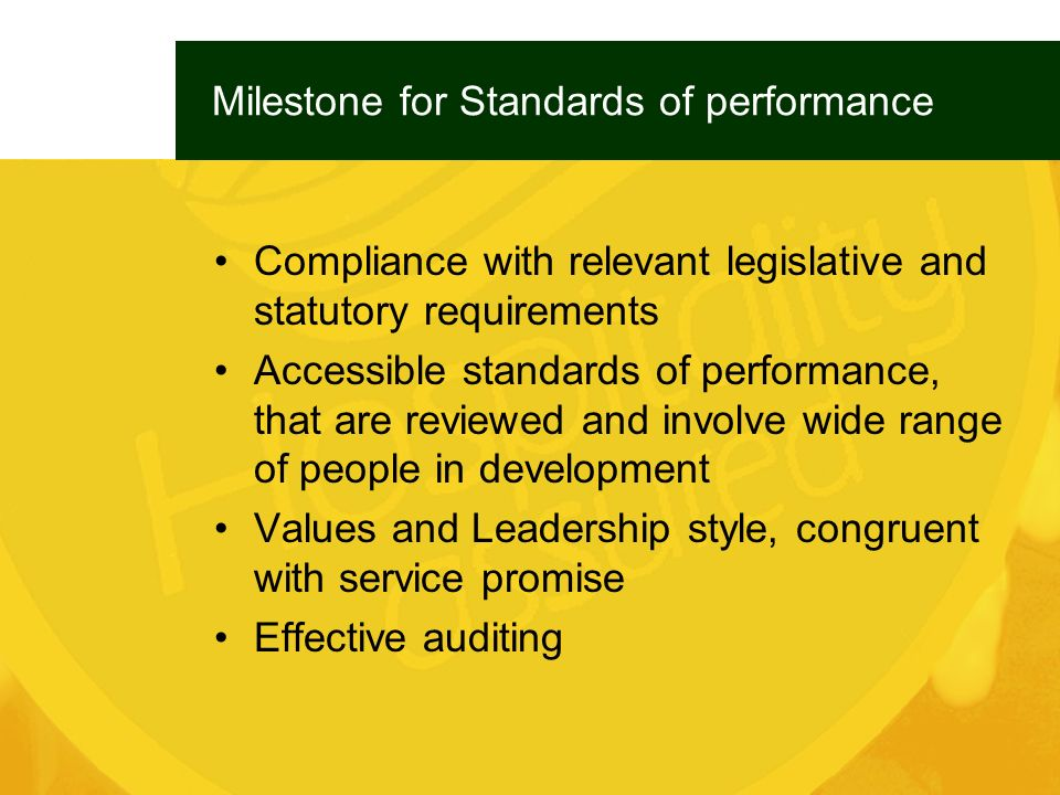 Milestone for Standards of performance