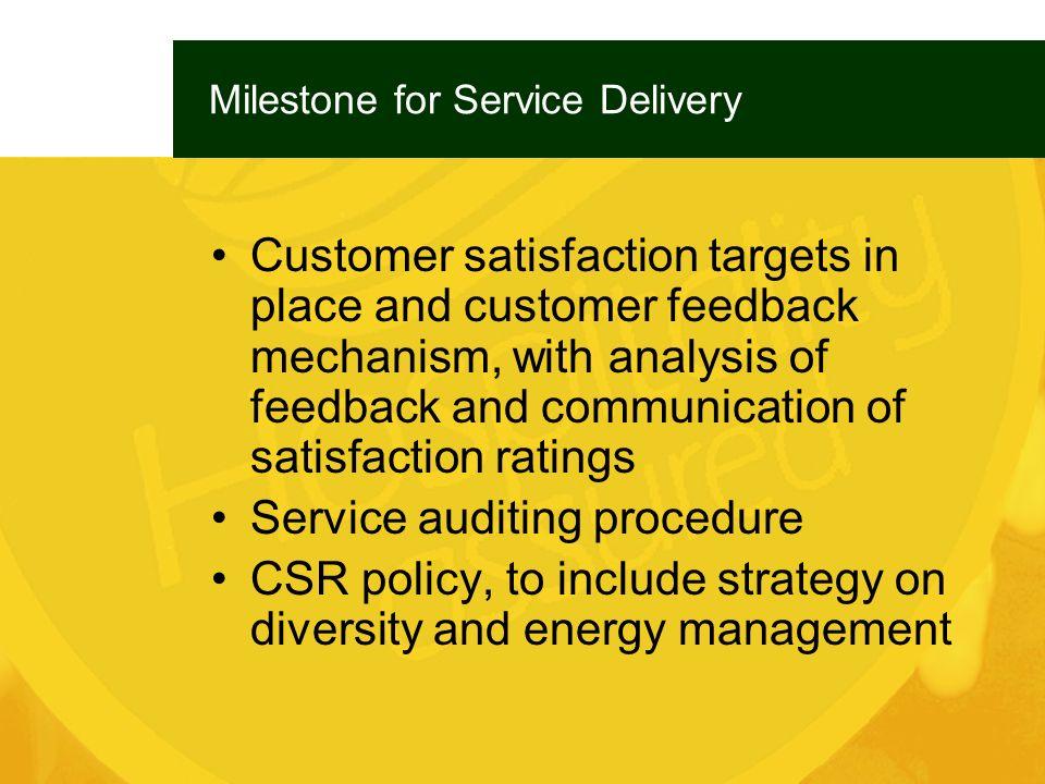 Milestone for Service Delivery