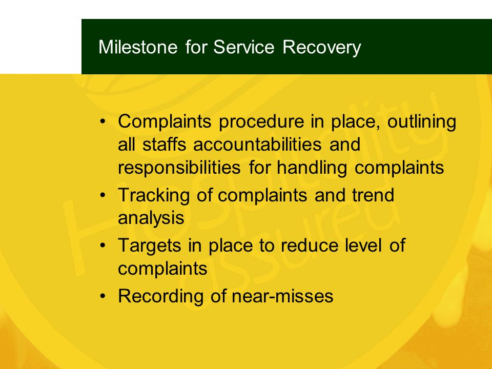 Milestone for Service Recovery