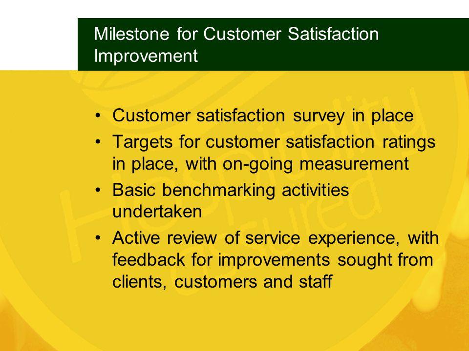 Milestone for Customer Satisfaction Improvement
