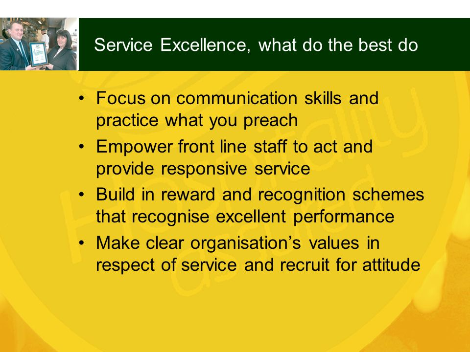 Service Excellence, what do the best do