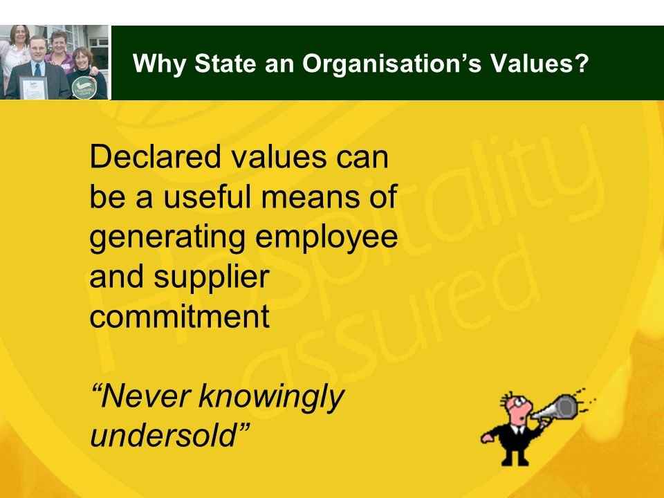 Why State an Organisation's Values